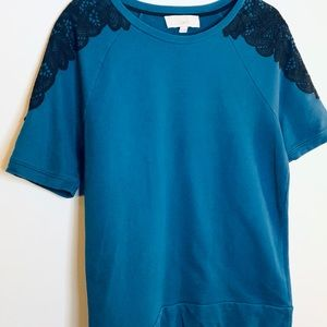 LOFT Blue Sweater with Black embroidery detail